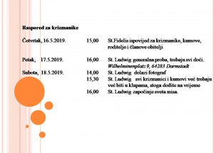 Raspored za krizmanike