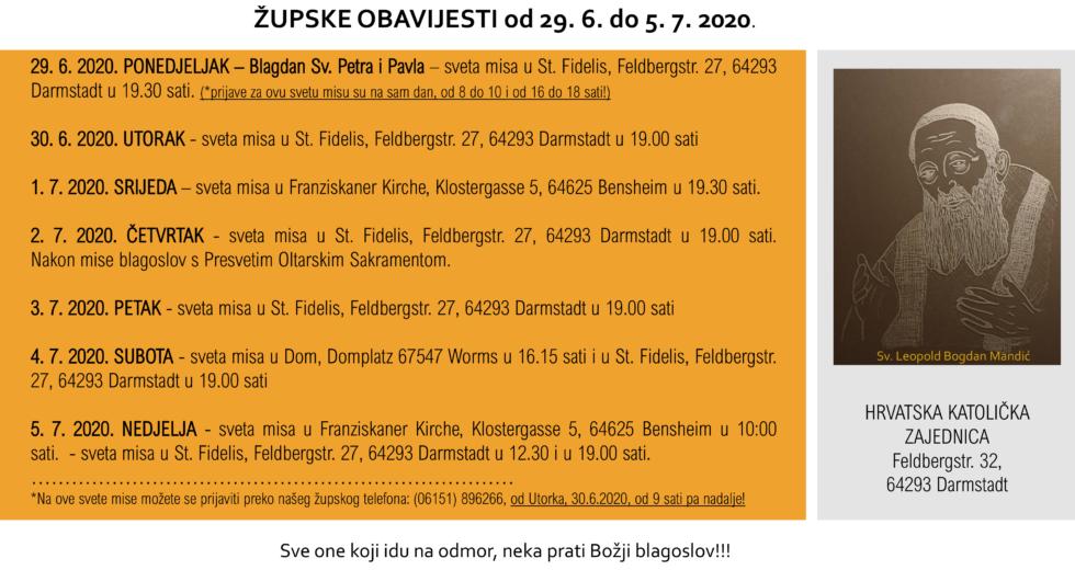 Župne obavijesti 29.6.-5.7.2020.