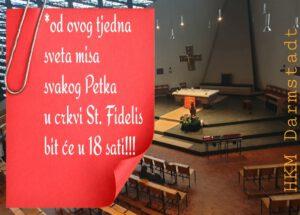 Mala promjena u rasporedu služenja svetih misa